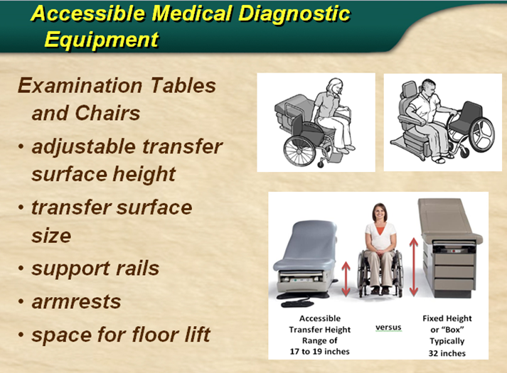 A slide describing Accessible Diagnostic Equipment such as adjustable exam tables and chairs