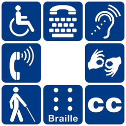 Figure 2: Symbols of accessibility for mobility disabilities, access for hearing loss, sign language interpretation, braille, and more.