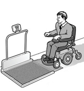 Patient in wheelchair using accessible weight scale