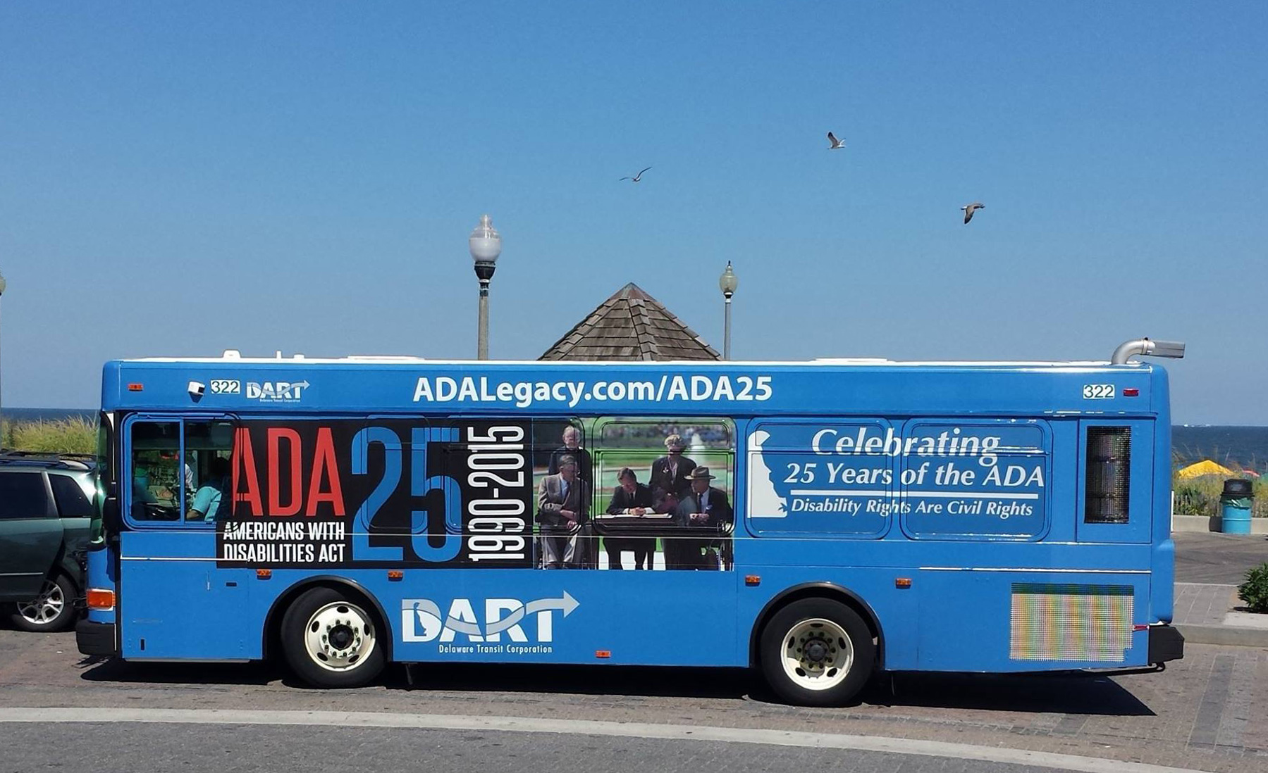 A bus of Delaware Department of Transportation celebrating the ADA 25