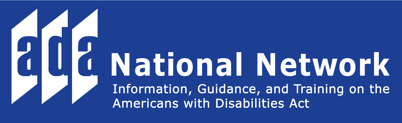 Logo for the ADA National Network. Three doors that read the letters A, D, A. National Network. Information, guidance, and training on the Americans with Disabilities Act.