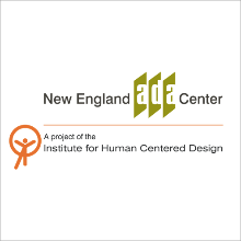 "New England ADA Center logo with ""a proposal of the institute for Human Centered Design"""