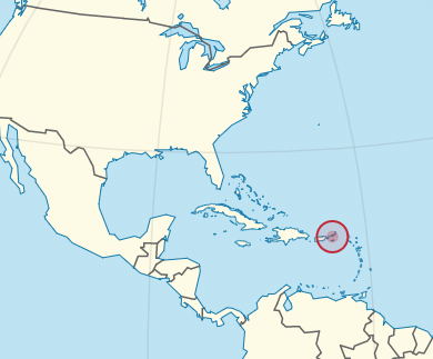 A map showing where the USVI is located