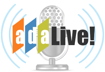 Logo showing a microphone with the word ADA Live!