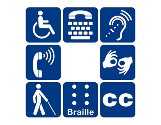 Symbols of accessibility for mobility disabilities, access for hearing loss, sign language interpretation, braille, and more.