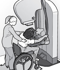 Mammography equipment and patient using wheelchair