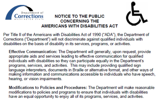 Notice to the Public Concerning the Americans With Disabilities Act