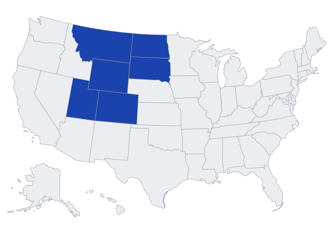 Map of RMADAC covered US States