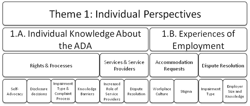 Theme 1: Individual perspectives. Subthemes include: individual knowledge about the ADA and experience of employment. Individual knowledge about the ADA (subtheme 1) includes four synthesis arguments related to rights and processes. These include: self-advocacy, disclosure decisions, impairment type and the complaint process; and knowledge barriers. Individual knowledge about the ADA includes two synthesis arguments related to services and service providers: the increased role of service providers, and dispute resolutions.Experiences of employment (subtheme 2) includes two synthesis arguments related to accommodation requests: workplace culture, and stigma. The subtheme also includes two synthesis arguments related to the dispute resolution process: impairment type and employer size and knowledge.